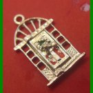 vintage CHRISTMAS HOLIDAY CHARM : Door Opens - Merry Xmas Inside - Nickel Plated