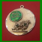 vintage CHRISTMAS HOLIDAY CHARM : Santa's Loaded Sleigh w/ Red & Green Gemstones