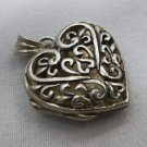 925 STERLING HEART LOCKET PENDANT or CHARM signed SU