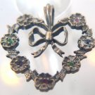WREATH-LIKE HEART w/ BOW and GEMS PENDANT signed FM 82 STERLING