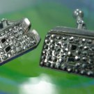 """vintage sterling  925 silver and MARCASITE INITIAL """"B"""" UNISEX  CUFFLINKS"""