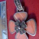 PENDANT: sterling 925 silver 4 LEAF CLOVER or DOGWOOD - Pink Stones Marcasite