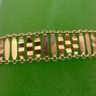 BRACELET: GOLDEN sterling VINTAGE LIGHT AS A FEATHER signed ITALY + HALLMARK