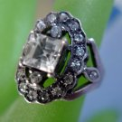vintage sz 9 ring STERLING PILLOW CUT CENTER STONE w/ OVAL of CZz