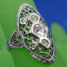 RING sz 7 : VINTAGE FILIGREE w/ 3 RHINESTONES by VARGAS (1940's or 50's