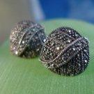 stud EARRINGS: sterling 925 silver FAS Marcasite Leaf Shaped