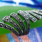 sz 6 Vintage Sterling Silver Ring ART DECO wide FAN covered in marcasite