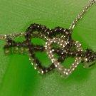 Black & White Diamonds Double Heart Pendant w/ Arrow + CHAIN : sterling HN