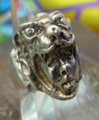 sz 10.5 Sterling Silver Tribal Ring Indian Face in Wolf Headdress signed TAXCO