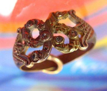 antique sz 9 Ring vintage Pink & Yellow Gold w/ 6 Smallish Diamonds