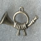 vintage CHARM : FRENCH HORN - SOLID SILVER - 3.2 GRAMS - ITALIAN MARKS