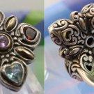 vintage sz 7.5 Ring Benham Sterling & 18K Gold Gemstones w/ Gallery BJC