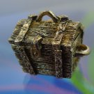 vintage GOLD WASHED TREASURE CHEST CHARM : OPENS