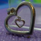 sterling & gold DOUBLE HEART PENDANT marked BOLIVIA (LARGE 925 & SMALL 10K)