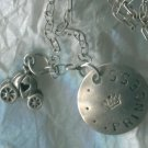 2 SILVER DISNEY CHARMS : CINDERELLA'S PUMPKIN and a PRINCESS CHARM on LONG CHAIN