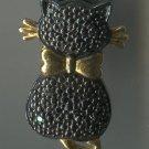 BLACK CAT PENDANT : STERLING w/ A DOZEN TINY BLACK DIAMONDS for SPARKLE
