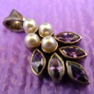 VINTAGE STERLING 925 SILVER PEARL and AMETHYST PENDANT