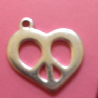 vintage Valentines Day Silver Peace Sign Heart Charm