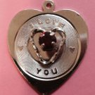 Valentines Day Sterling Silver Heart Charm by Spencer : I Love You