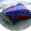 CHARM : STERLING SILVER / ENAMEL REBEL or CONFEDERATE FLAG