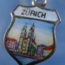ZURICH Enamel & 800 Silver Travel Shield Souvenir Charm