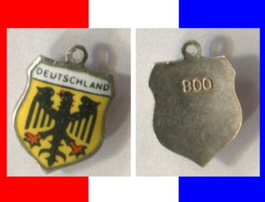 DEUTSCHLAND Enamel & Silver Travel Shield Souvenir Charm