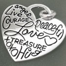 HEART CHARM: WORDS OF LOVE by LA (CONJOINED) sterling