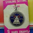 """VINTAGE CHARM: sterling 1976 """" HARD ENAMEL """" BICENTENNIAL on card / FORT marked"""