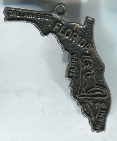 VINTAGE BEAU STERLING FLORIDA MAP SOUVENIR CHARM #4 BATHING SUIT LADY