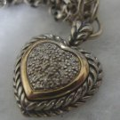 NECKLACE: T & C (TOWN & COUNTRY) 14K and 925 PAVE DIAMOND INNER HEART : 16 INCH