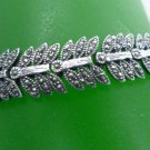 vintage BRACELET : STERLING 925 SILVER and MARCASITE FEATHERS or LEAVES
