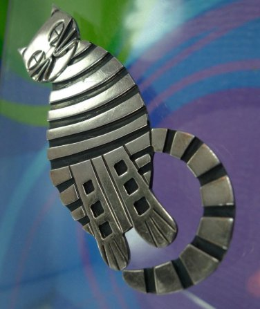 """vintage DECO sterling 925 silver 3"""" TALL STRIPED TIGER TABBY CAT BROOCH"""