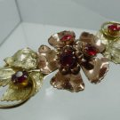 BROOCH / PIN : sterling 925 silver VERMEIL yellow & pink w/ RUBY RED STONES