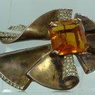 BROOCH / PIN: sterling 925 silver vtg Topaz Rhinestone Vermeil NORDIC Bieberbach