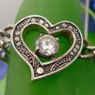 bracelet HEART w/ CENTER CLEAR STONE signed sterling TOGGLE CLASP / CABLE CHAIN