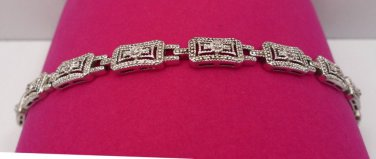 """AWESOME 925 silver  7"""" WM China STERLING  BRACELET w/ CZ CHIP SAFETY  EA LINK"""