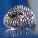 RING sz 9 VINTAGE signed sterling 925 VERY UNIQUE SETTING THREE (3) RUBIES