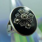 sz 7 vintage ONYX & MARCASITE SIGNET RING in sterling 925 silver signed MARSALA