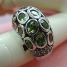 sz 7 sterling PALE GREEN & WHITE SPINEL GEMSTONE RING - GALLERY signed ARIEL #11