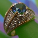 """RING sz 8 LONDON BLUE CENTER STONE pave RHINESTONES or CZ MARKED 18K G.E. """"A"""""""