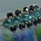 RING sz 8 sterling 925 silver (6) BLUE TOPAZ (10) SAPPHIRE : 3 ROWS : 5 - 6 - 5