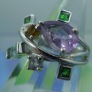 RING sz 7 sterling 925 silver PEAR SHAPE AMETHYST + 5 SMALL GEMSTONES SIGNED