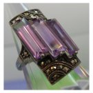 """vintage ART DECO RING sz 6 TALL AMETHYST MARCASITE & sterling 925 SIGNED """"H"""""""