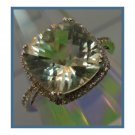 commitment or HALO RING sz 7.5 sterling Pillow TOP PALE PERIDOT white topaz