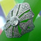 sz 8 RING: sterling 925 silver signed NF TALL pave RHINESTONES BLING