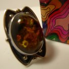 sz 6 RING: sterling 925 silver DTR Jay King Desert Rose Trading Amber Bugs Parts