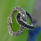 sz 7.5 RING: sterling 925 silver AWESOME BLACK & WHITE CZz