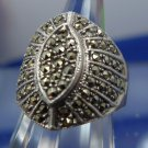 sz 5.5 RING: Sterling Silver 925 COVERED in Marcasite NONE MISSING