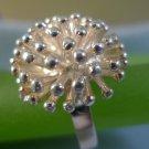 sz  6.5  RING: sterling 925 silver MODERNIST DAHLIA FLOWER FIREWORKS