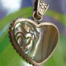 sterling 925 silver HEART PENDANT: marked FAS 28mm PERFECT ABALONE SHELL HEART